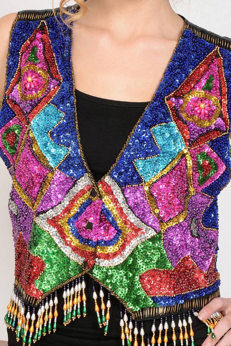 80′ler Siyah Saten Üstü Renkli Payet Vintage Yelek | AU Vintage
