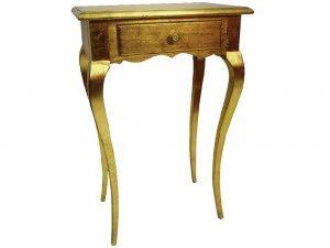 Konzolový stolík Livorno G 51cm  Elegantný konzolový stolík Livorno so šuflíkom v zlatej farbe. Jeho jednoduché a čisté oblé línie podčiarkujú jeho eleganciu a čistotu.  Šírka: 51cm  Dĺžka: 35cm  Výška: 80cm  Materiál: drevo  Dostupné farby: zlatá, strieborná, biely lak, patina