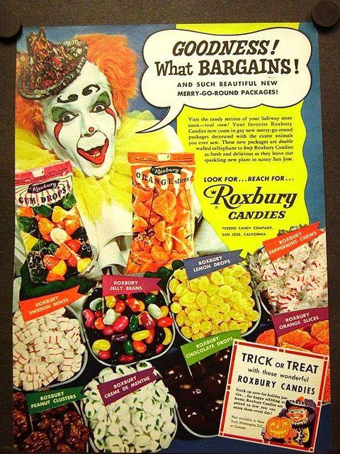 1953 Roxbury Hollow Halloween Candy Ad