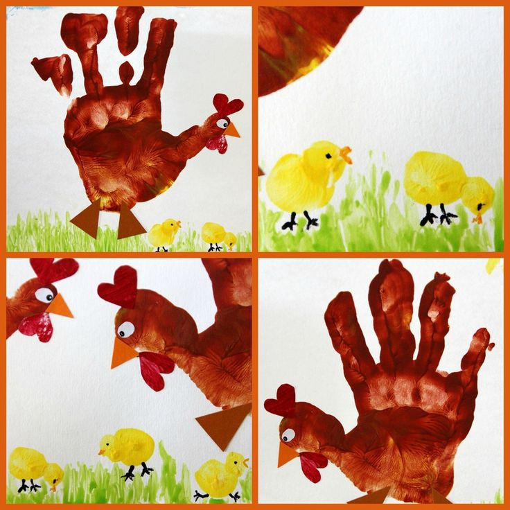 Empreintes de mains et de doigts pour la poule et les poussins