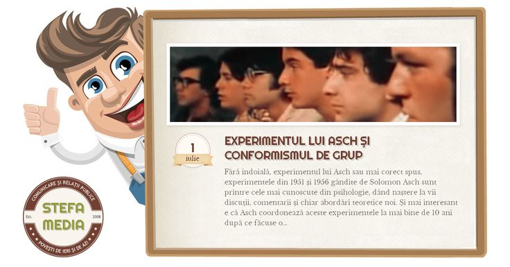 Experimentul lui Asch sau experimentele din 1951 și 1956 gândite de Solomon Asch demonstrează foarte limpede conformismul de grup.