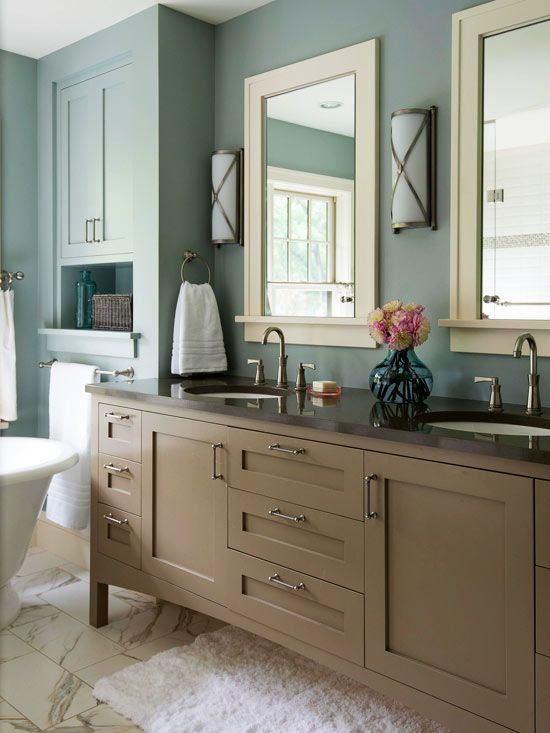 bathroom color palette taupe dusty blue white muted blue walls surround 10470