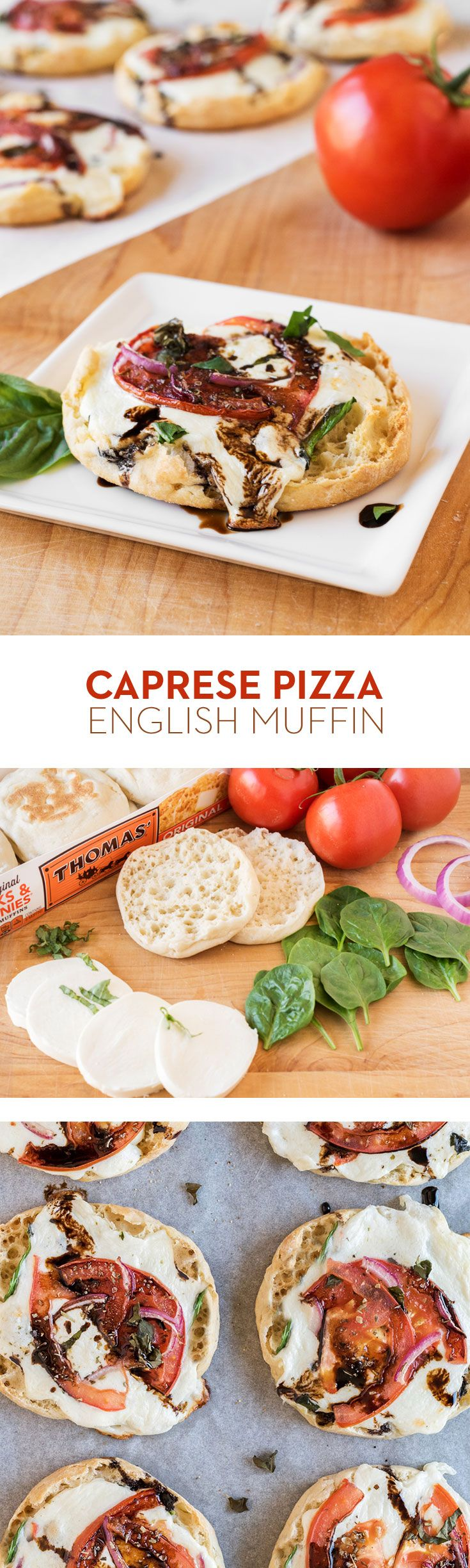 Caprese Pizza English Muffin – Pizza is one of those things you can eat at any time, at any temperature, with any toppings. These Mozzarella, tomato and basil pizzas are just the start of what you can do when you've got your favorite pizza toppings and Thomas' Original English Muffins!
