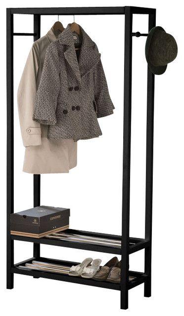 http://www.houzz.com/photos/23419655/Black-Free-Standing-Black-White-Woodend-2-Tier-Storage-Clothing-Shoe-Rack-contemporary-clothes-racks