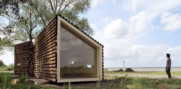 OLGAA Prefab Home via cdn.freshhome.com. has the semblance of a pile of lumber. its 22 sq m and starts at 21,000 euro #prefab #lumberhome #micro_living