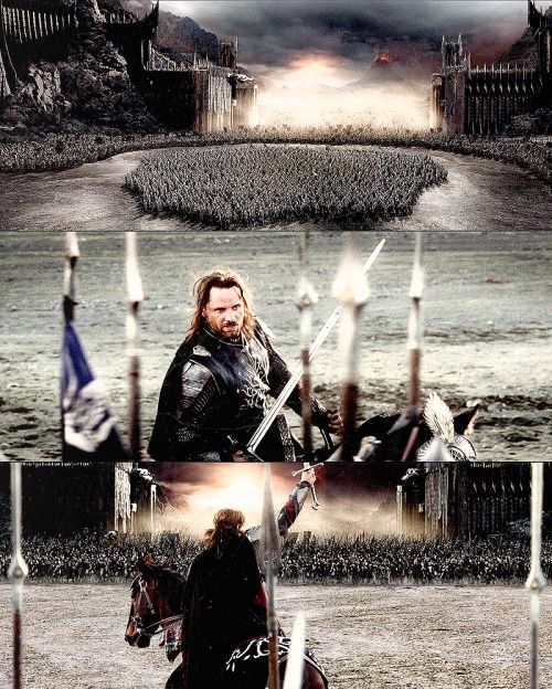 15 days of LotR: day 9 - most moving speech:Sons of Gondor, of Rohan, my brothers. I see in your eyes the same fear that would take the heart of me. A day may come when the courage of men fails, when we forsake our friends and break all bonds of fellowship, but it is not this day. An hour of wolves and shattered shields, when the age of men comes crashing down, but it is not this day. This day we fight! For all that you hold dear on this good Earth, I bid you stand, Men of the West!