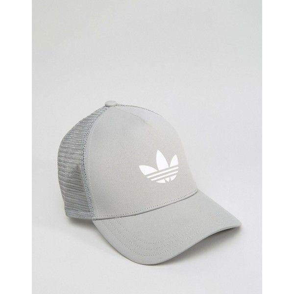 adidas Originals Trucker Cap In Gray AJ8956 ($17) ❤ liked on Polyvore featuring men's fashion, men's accessories, men's hats, grey, mens caps and hats and mens 5 panel hat