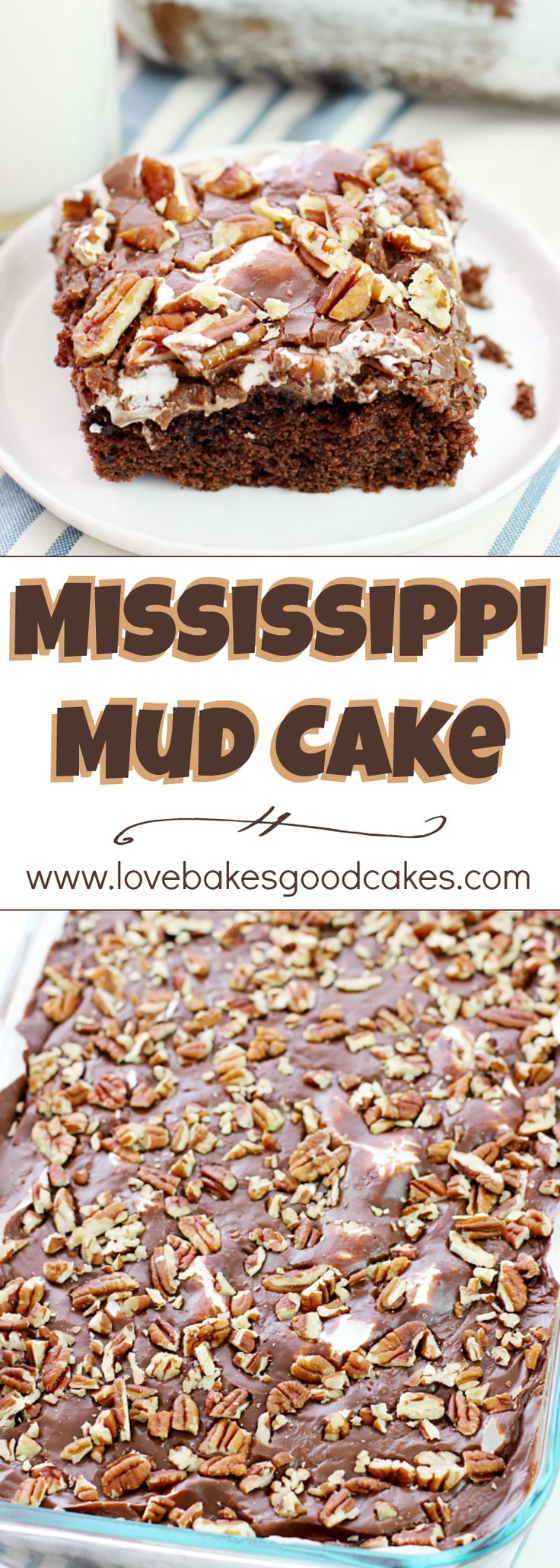 Mississippi Mud Cake - a Southern classic cake with chocolate, marshmallows, and pecans! Everyone asks for THIS recipe!!: