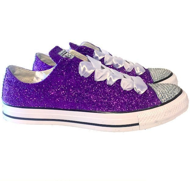 Womens Sparkly Glitter Bling Crystals Converse All Stars Purple