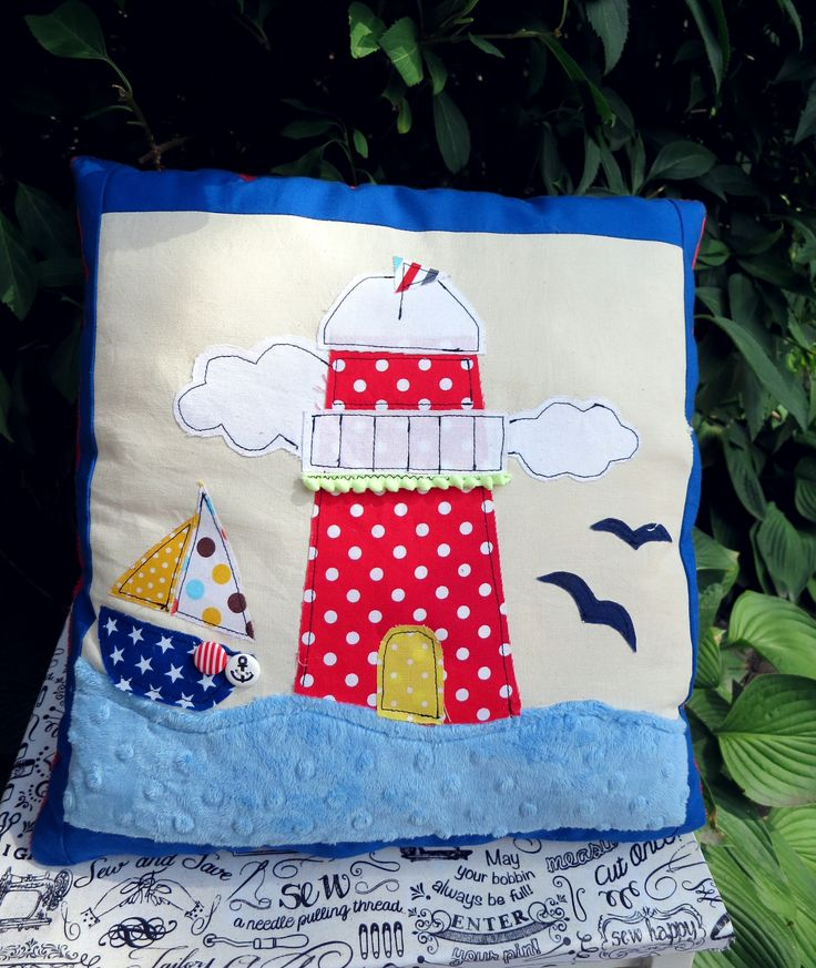 Colorfull aplication :) #craft #craftoholicshop #aplication #pillow #handmade #sew #sewing #nautical #marines # marine #anchor #seaview #sea #holidays #lighthouse