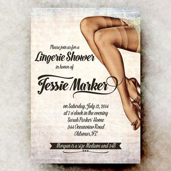 Lingerie Bridal Shower Invitation - Retro Bridal Shower Invitation, sexy bridal shower, printable invitation