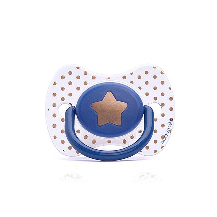 Chupete #Suavinex Haute Couture estrella azul +12m. #bebes #chupetes #farmacia