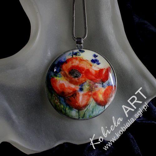 medalion ręcznie malowaną ceramika - oprawa srebro ( 925 )