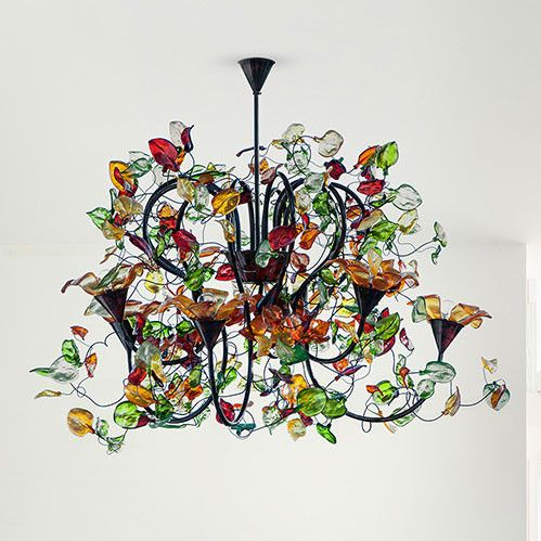 Flower chandelier, copper & resin, handmade