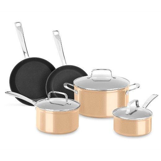 KitchenAid® 8 Piece Hard Anodized Nonstick Cookware Set - KC3H1S08 : Target