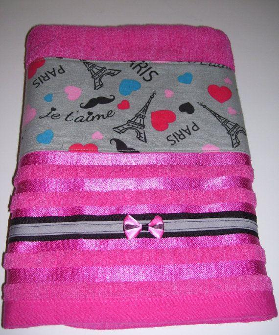 GIFT SET TOWELS  paris city design   hot pink