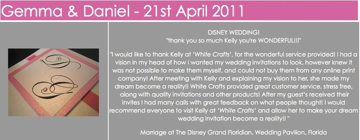 White Crafts awesome customers thanking us for a wicked job done with their wedding invitations