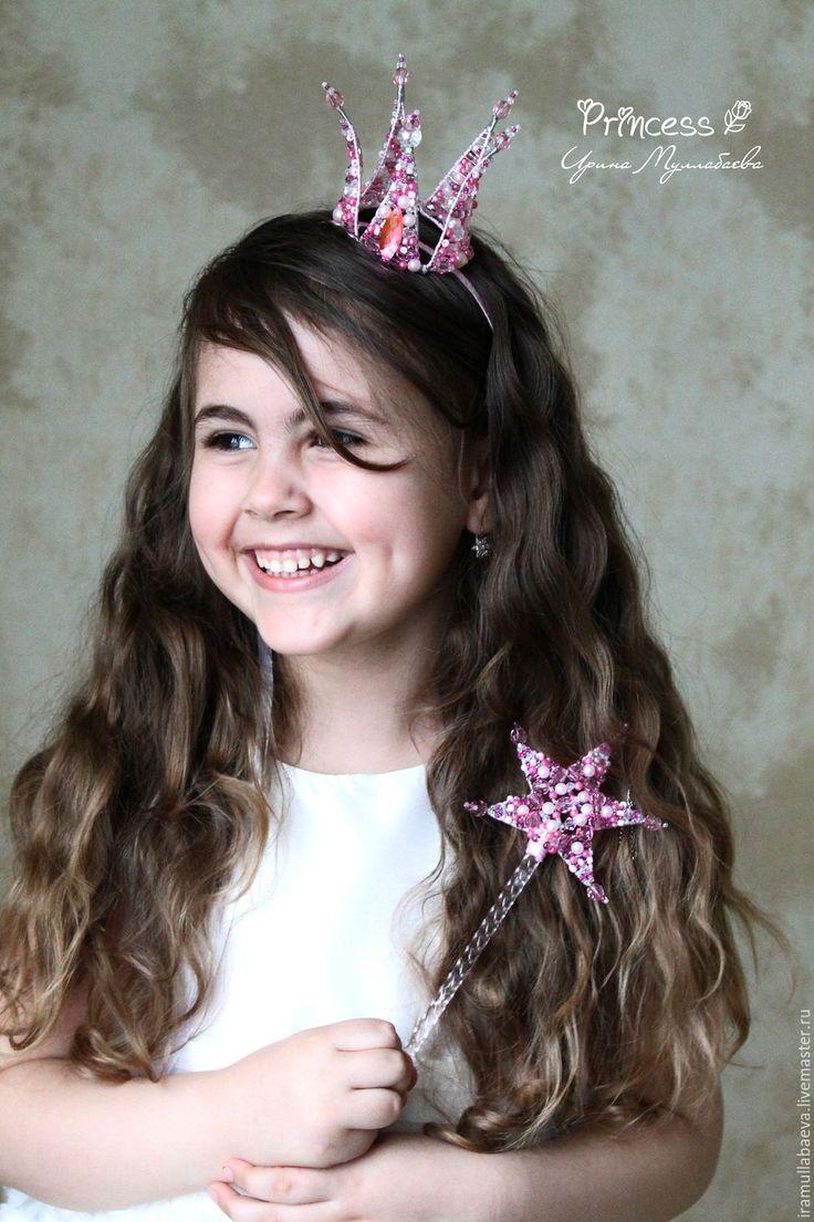 """Купить Корона для принцессы """"Princess"""" - бледно-розовый, корона для принцессы, корона и палочка, розовая корона"""