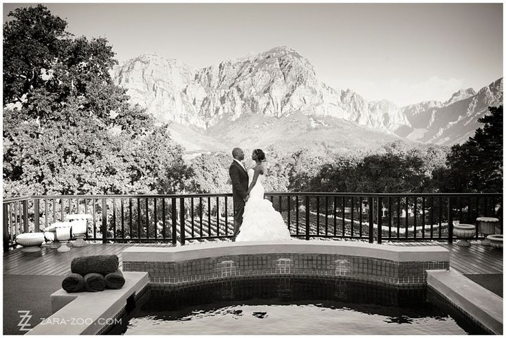 This couple photo was taken on the pool deck of the manor house of Molenvliet Wine and Guest Estate in #Stellenbosch. Molenvliet is one of the top 10 #weddingvenues in #CapeTown.  Read our full venue review on the ZaraZoo Blog http://www.zara-zoo.com/blog/molenvliet-venue-review/