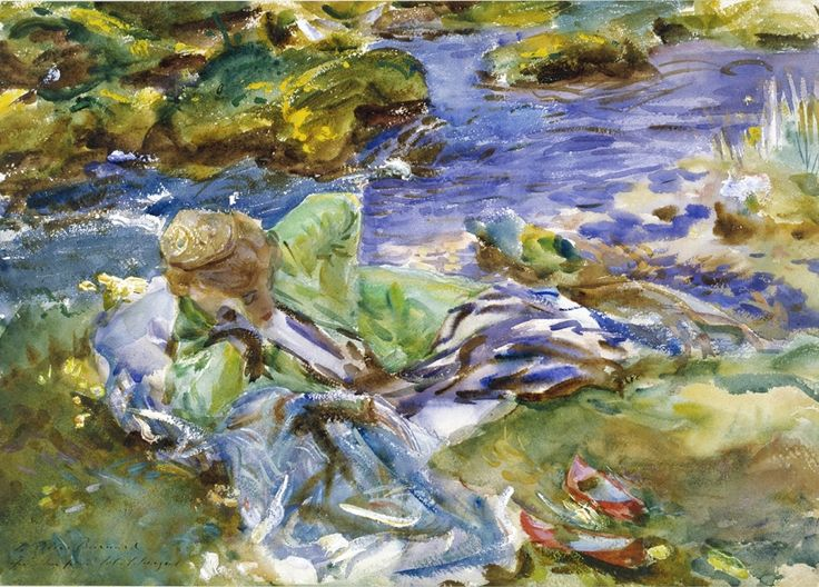 John Singer Sargent, A Turkish Woman by a Stream, c. 1907,