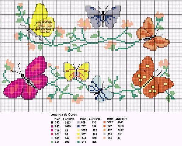 Mariposa en punto de cruz pequeñas - Imagui