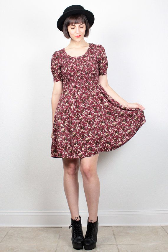 Vintage 90s Dress Burgundy Liberty Floral Print Mini Dress