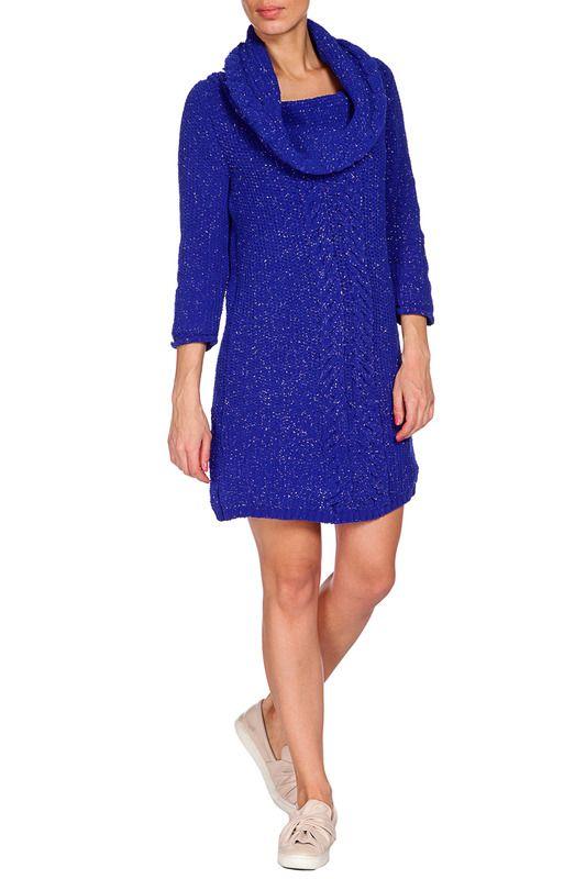 синее платье с юбкой длины мини, из трикотажной ткани, приталенного силуэта