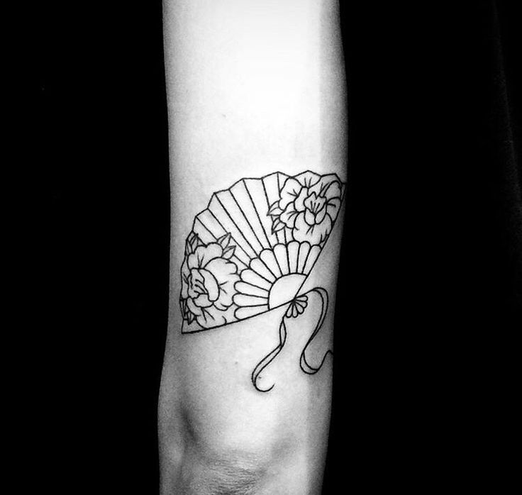 Chinese fan tattoo by Julien Depeyre  #blackwork #linework