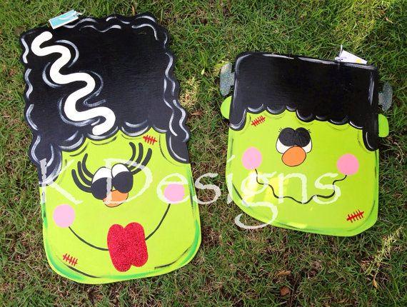 Frankenstein and Bride door hanger - Halloween door hanger on Etsy, $75.00