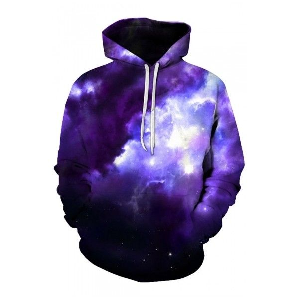 New Arrival Fashion Digital Thick Cloud Print Long Sleeve Sports... ($36) ❤ liked on Polyvore featuring tops, hoodies, long sleeve hooded sweatshirt, long sleeve hoodies, long hoodie, purple hoodie and purple hoodies