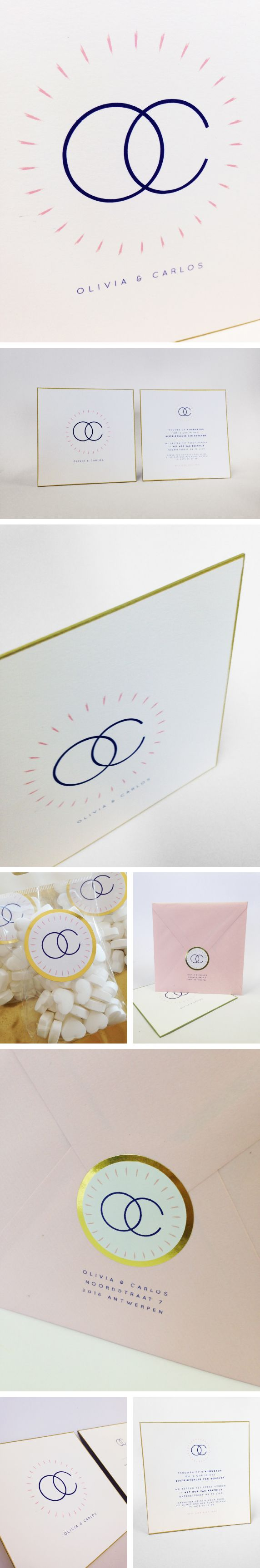 Olivia en Carlos, goud, roos, eenvoud, ringen, logo letters