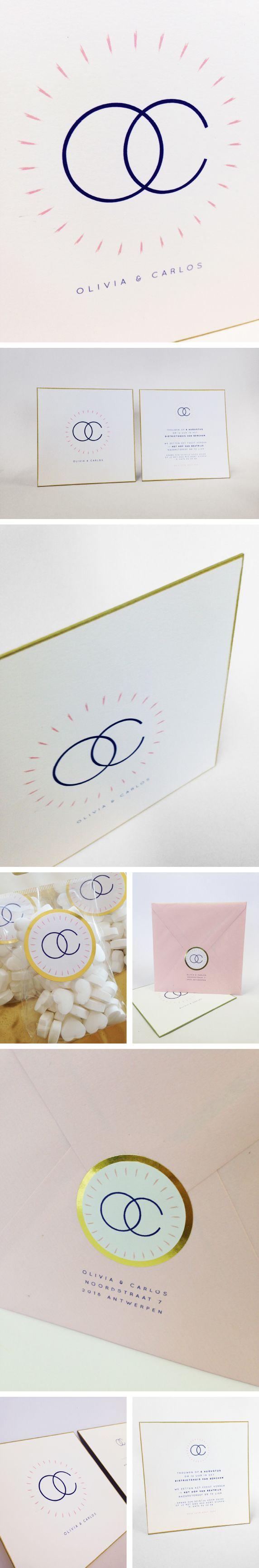 Olivia en Carlos, goud, roos, eenvoud, ringen, logo letters, trouwuitnodiging, mosstudio, ring, love, wedding invitation