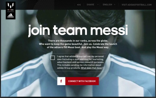 Live Campaign: Adidas give many the chance to live a dream by becoming a member of Messi's team.