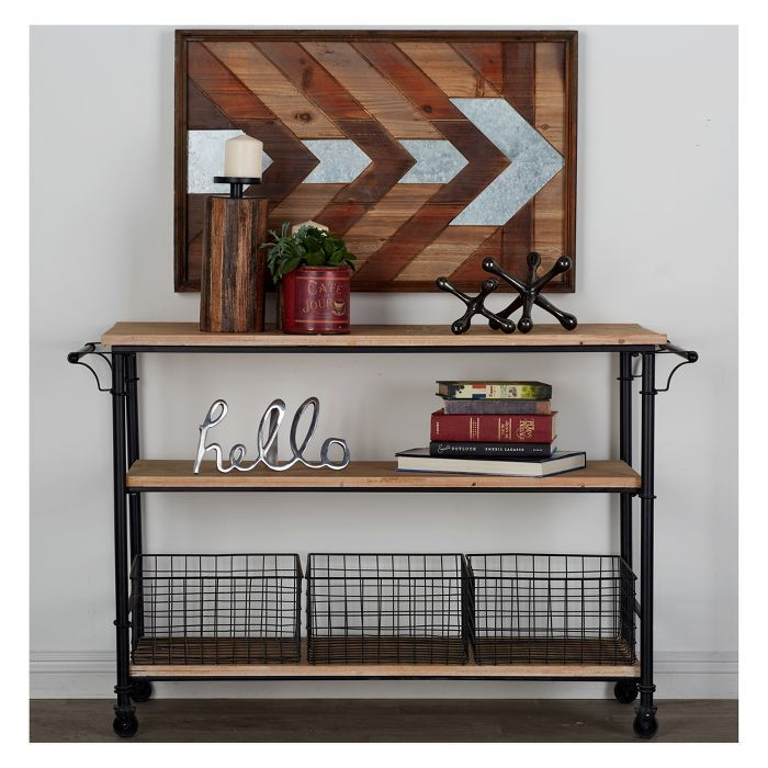 Metal And Wood Rolling Utility Cart Brown Olivia May In 2020 Solid Wood Coffee Table Wood Cart Coffee Table With Storage