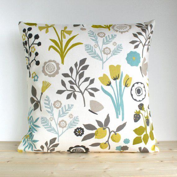 Flower Pillow Cover Cotton Pillow Case Floral Pillow Cover Decorative Cushion Cover Pillow Slip Toss Pillow Folk Flowers Chartreuse Floral Pillows Floral Pillow Cover Flower Pillow