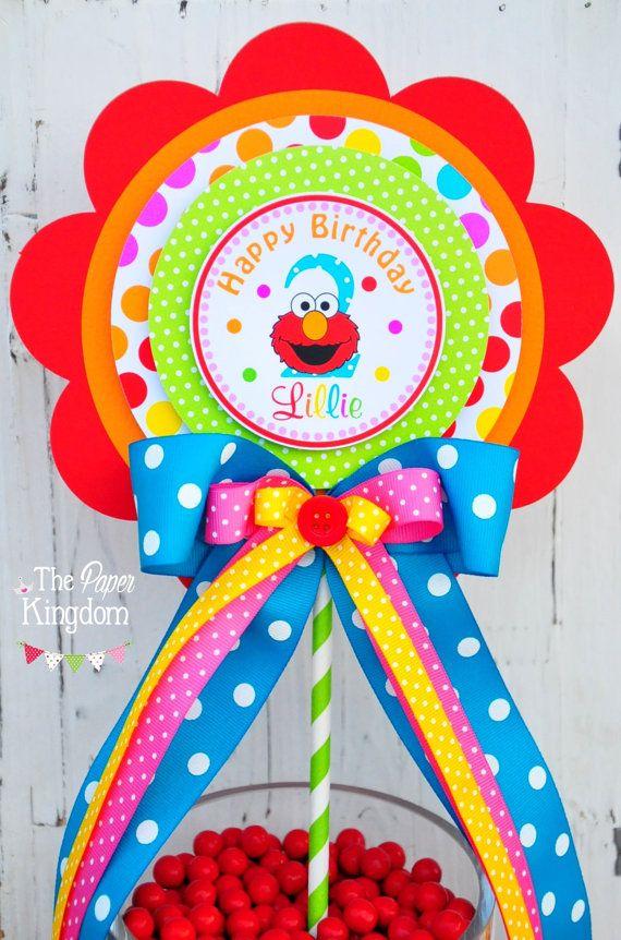 Centro de mesa de Elmo, centro de mesa de Elmo lujo, chica fiesta de cumpleaños de Elmo, Elmo decoraciones