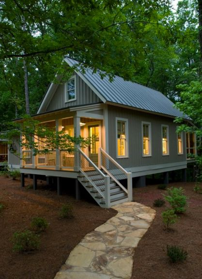 Tiny house with large covered porch. #livinglargeinatinyhouse