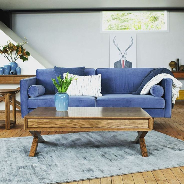Scandinavian inspired velvet Ritchie #sofa matched with occasional furniture from the Omaha range #interiordesign