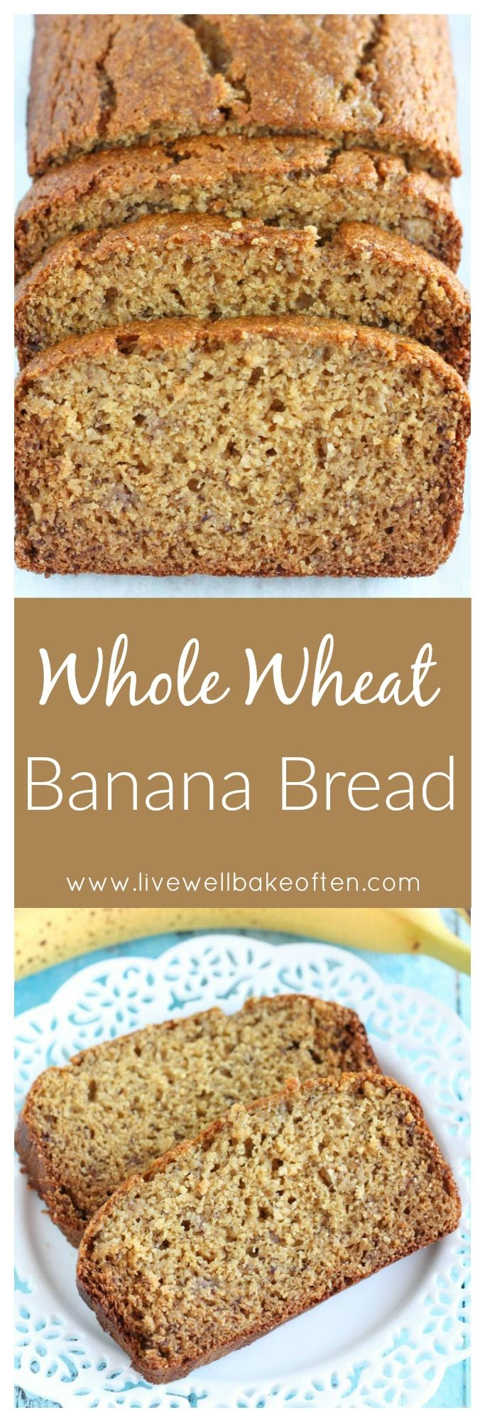 This Whole Wheat Banana Bread is lightened up with Greek yogurt and less sugar, but still tastes amazing!
