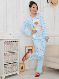 Blue Bear Pattern Polka Dot Cotton Maternity Sleepwear