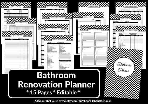 Bathroom Remodel Checklist Planner Printable Renovation Home