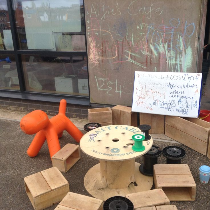 Outdoor play cafe inspired by The Tiger Who Came to Tea. LOTS of boys inspired to write menu board and use loose parts for imaginative play.