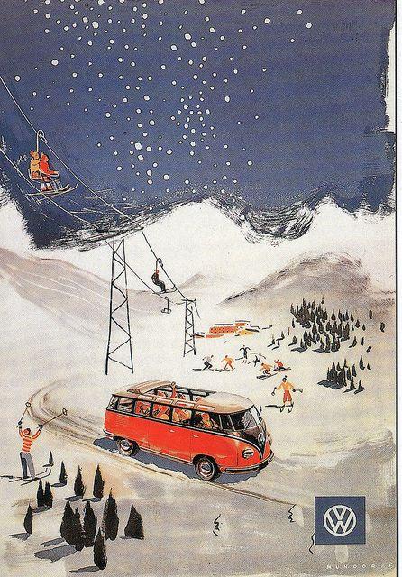 VW Samba skiing