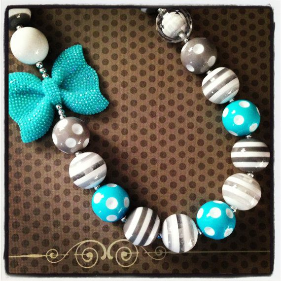 Turquoise, White and Gray Chunky Bead Necklace...Necklaces...Childrens Jewelry...Chunky Beads...Jewelry...Girls Necklaces on Etsy, $12.50