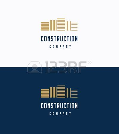 construction logo: Flat premium buildings logo template