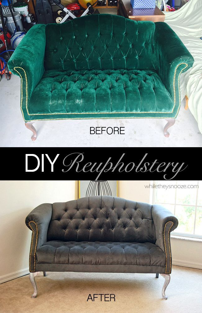 Learn how to reupholster a tufted couch with this upcycle tutorial.