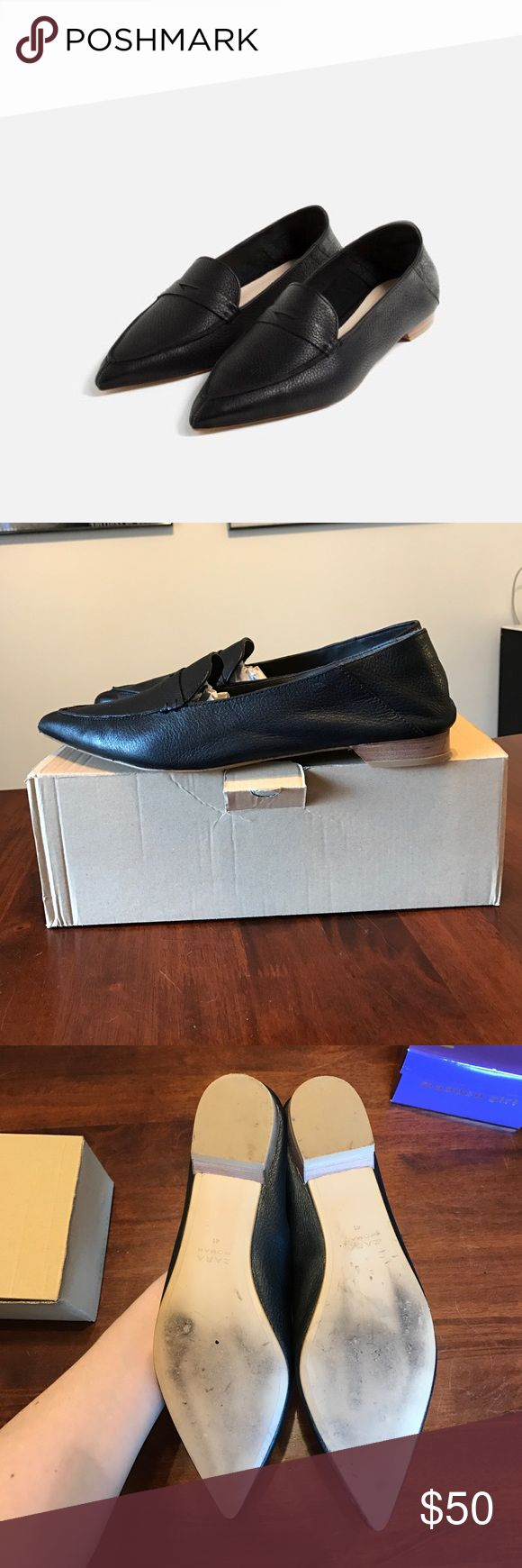 """Leather Loafers ZARA Pointed Leather Flats. Very comfortable. Excellent condition. Heel height: 0.75""""-in. In Box. Zara Shoes Flats & Loafers"""
