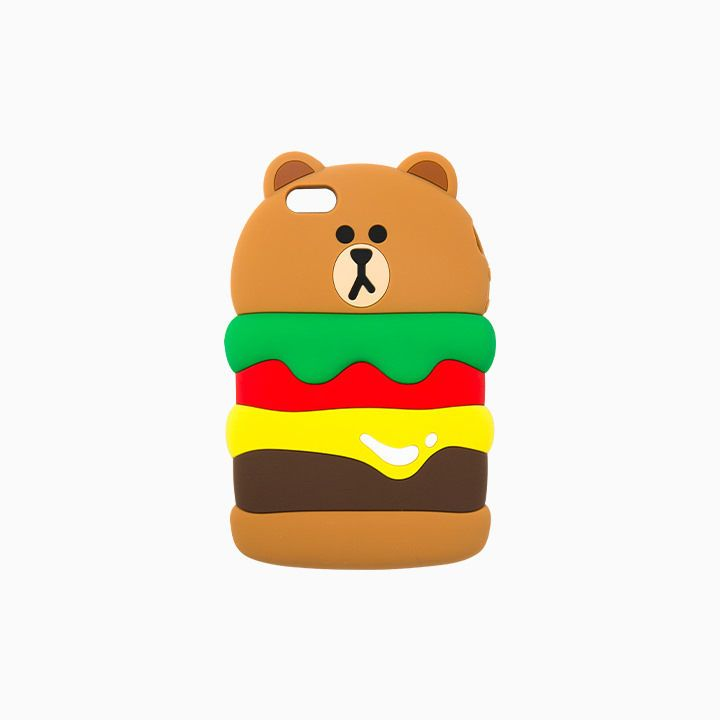 LINE FRIENDS Character iPhone SE 5 5S Silicone Case BURGER BROWN Official Goods #LINEFRIENDS