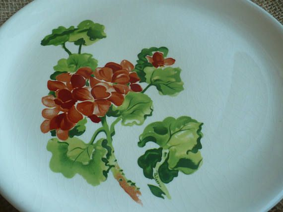 Vintage Salad Plate Salem China Co. Geranium Made In U.S.A.