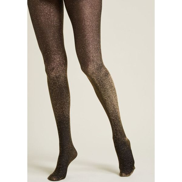 Gimme the Glitter Sparkly Tights ($15) ❤ liked on Polyvore featuring intimates, hosiery, tights, glitter stockings, sparkle hosiery, sheer hosiery, gold tights and sheer sparkle tights